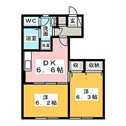 宮城県仙台市太白区西中田7丁目の賃貸アパートの間取り