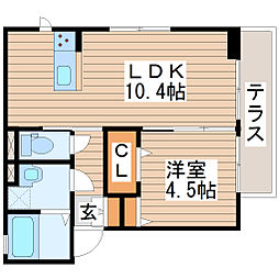 D-roomプレミオ木町 2階1LDKの間取り