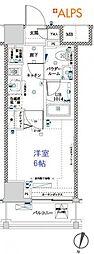 横浜市営地下鉄ブルーライン 吉野町駅 徒歩6分の賃貸マンション 6階1Kの間取り