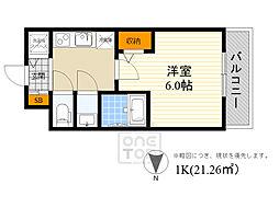 阪急千里線 豊津駅 徒歩8分の賃貸マンション 4階1Kの間取り