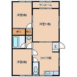 パールメゾンFuji  B[202号室]の間取り