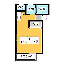 ガーデニア21B棟 1階ワンルームの間取り