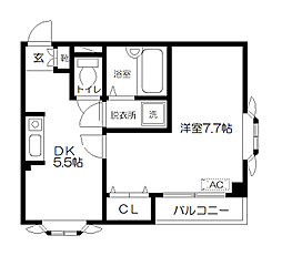 東京都府中市白糸台1丁目の賃貸マンションの間取り