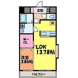 愛媛県松山市衣山2丁目の賃貸マンションの間取り