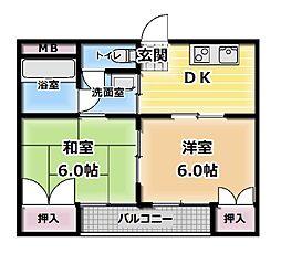 シティハイツ萱島[4階]の間取り