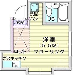 仙台市地下鉄東西線 八木山動物公園駅 徒歩17分の賃貸アパート 2階ワンルームの間取り
