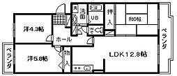 サンパティーク西田[2階]の間取り