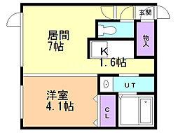 Cietaruga(チェタルーガ) 2階1LDKの間取り