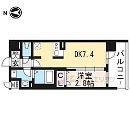 アクアプレイス京大北OX303 3階1DKの間取り