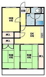 愛知県岡崎市小呂町の賃貸マンションの間取り