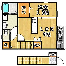 JR山陽本線 明石駅 バス10分 西河原下車 徒歩5分の賃貸アパート 2階1DKの間取り