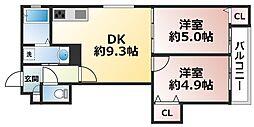 クリエオーレ東住吉II 1階2DKの間取り