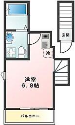 PATIO SQUARE徳丸~パティオスクエアトクマル~ 2階ワンルームの間取り