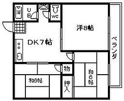 川崎ハイツ[2D号室]の間取り