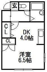 エンドレス三井南6条[3階]の間取り