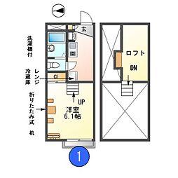 愛知県名古屋市瑞穂区雁道町4丁目の賃貸アパートの間取り