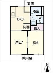 メゾンドール西入[1階]の間取り