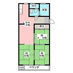 勢田パークマンション[2階]の間取り