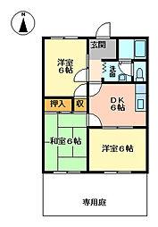 プリベールII[1階]の間取り