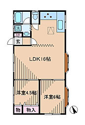 神奈川県横浜市港北区日吉本町1丁目の賃貸アパートの間取り
