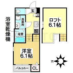 愛知県名古屋市瑞穂区石田町2丁目の賃貸アパートの間取り