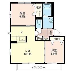 メビュースタウンIII K[2階]の間取り