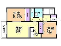 ミ・ピアーチェ東札幌 2階2LDKの間取り