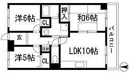 カサベルデ宝塚[3階]の間取り