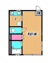 東京都武蔵野市西久保2丁目の賃貸アパートの間取り