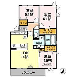 D-room昭代 弐番館[3階]の間取り