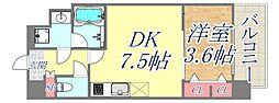 スプランディッド王子公園 3階1DKの間取り