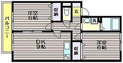 東京都世田谷区上祖師谷6の賃貸アパートの間取り