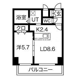 新築レゾ札幌 7階1LDKの間取り