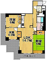 酉島リバーサイドヒルなぎさ街20号棟[11階]の間取り
