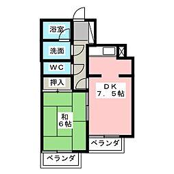 ラウムズ虹ヶ丘[2階]の間取り