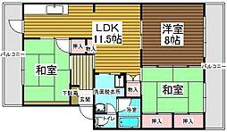村第2ビル[401号室]の間取り