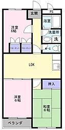 ハイツ八田[2階]の間取り