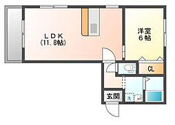 JR山陽本線 上道駅 3.5kmの賃貸アパート 2階1LDKの間取り