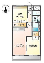 高塚ヒルズ 2階2LDKの間取り