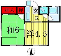 コーポワタナベ(小根本)[2階]の間取り
