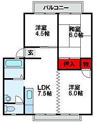 Uパーム B[2階]の間取り