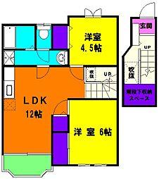 静岡県浜松市北区東三方町の賃貸アパートの間取り