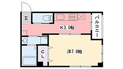 阪神本線 武庫川駅 徒歩4分の賃貸マンション 1階1Kの間取り