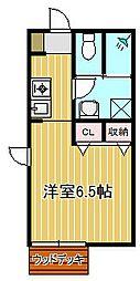 神奈川県川崎市中原区木月4丁目の賃貸アパートの間取り