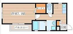 仙台市地下鉄東西線 大町西公園駅 徒歩8分の賃貸アパート 2階1Kの間取り