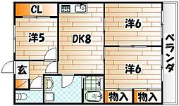 福岡県北九州市小倉南区津田新町4の賃貸マンションの間取り