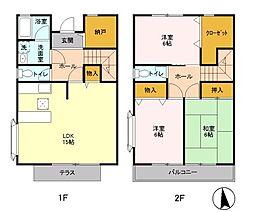[テラスハウス] 神奈川県横浜市都筑区荏田南2丁目 の賃貸【/】の間取り