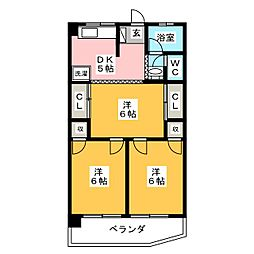 京源ハイツ[1階]の間取り