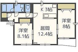 ルノール13B[1階]の間取り
