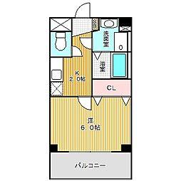 愛知県名古屋市中川区高畑2丁目の賃貸マンションの間取り